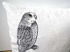 Bird / PILLOW COVER / White linnen. €35,00, via Etsy.