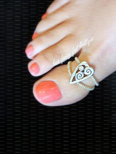 Big Toe Ring  Rhinestone Heart  Stretch Bead by FancyFeetBoutique