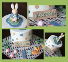 Over 60 Pieces Party Package Whimsical Rabbit Vegetable Garden-Themed Cake and Cupcake Topper Set by Les Pop Sweets on Gourmly