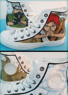 Naruto shoes naruto kakashi/gaara sneakers shoes,High-top Painted Canvas Shoes Source by mypaintedshoes naruto
