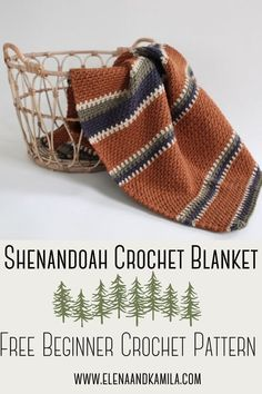 The Shenandoah Free Crochet Pattern - - Beginner friendly crochet blanket pattern. Uses bulky yarn and a simple stitch to give it a woven look. Easily customize the color combination. Crochet Patterns For Beginners, Knitting For Beginners, Crochet Blanket Patterns, Crochet Stitches, Knitting Patterns, Start Knitting, Easy Knitting, Crochet Afghans, Beginner Crochet Blankets