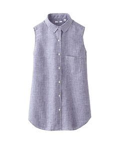 WOMEN PREMIUM LINEN CHECK SLEEVELESS SHIRT