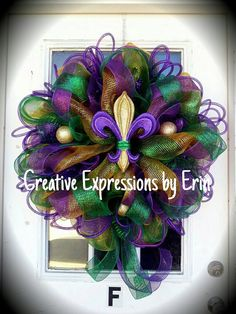 Check out this item in my Etsy shop https://www.etsy.com/listing/221695601/mardi-gras-wreath-fat-tuesday-wreath