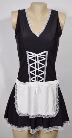 LA VIE EN ROSE Black/White French Maid Short Gown Small/Medium Sexy Halloween #LaVieenRose #Sexy #Glamour