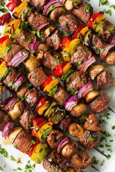 Eating food from a stick is the most fun way to eat! Try these 20 different shish kabob recipes on the grill this summer and the whole family will love it! Best Bbq Recipes, Barbecue Recipes, Grilling Recipes, Beef Recipes, Cooking Recipes, Barbecue Grill, Best Bbq Food, Bbq Beef Ribs, Vegetarian Grilling