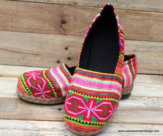 Womens Loafer Ethnic Hmong Embroidered  by SiameseDreamDesign, $40.00