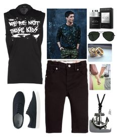 """O Haras da Minha Vida - Cap. 23"" by liasalvatore ❤ liked on Polyvore featuring Burberry, Uniqlo, Dsquared2, Ray-Ban, Bulgari, men's fashion and menswear"