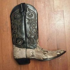 Snake skin and leather nocona boots Really nice leather soles, they are worn with very minimal wear Shoes Heeled Boots