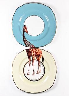 Giraffe plates by yvonneellen on Etsy, $58.00