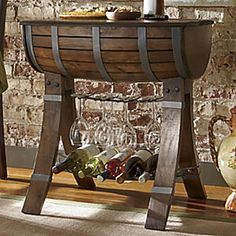 """Tables - Meaning """"beautiful evening"""" in Italian, this Bella Sera barrel table beckons you to kick back in your favorite chair and enjoy a glass of vino. Buy Now, Pay Later Credit Shopping at Seventh Avenue! Wine Barrel Crafts, Wine Barrel Table, Barrel Bar, Wine Barrels, Table Baril, Wine Rack Inspiration, Whiskey Barrel Furniture, Wine Rack Design, Barris"""