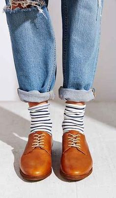 how to style brown oxfords : ripped jeans   stripped socks