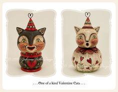 Vintage style folk art ~ Valentine cats by Johanna Parker