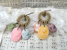 spring cameo earrings assemblage dangle by lilyofthevally on Etsy