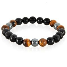 Wear this sharp and stylish men's bracelet featuring polished natural tiger's eye, black onyx, and hematite stone beads. This men's natural stone bead bracelet is stretchable and it is designed to fit