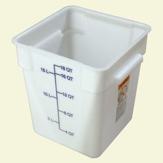 18 qt. Polyethylene Square Food Storage Container in White (Case of 6)