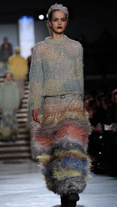 Missoni amazing mohair and angora stripe knitted maxi tube skirt
