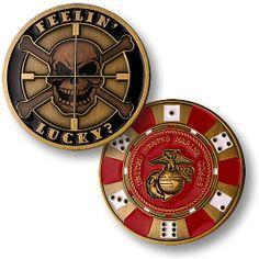 Feelin Lucky United States Marine Corps Bronze Challenge Coin   eBay