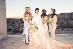 Flower crowns and oversized bouquets for Andi's bridesmaids.