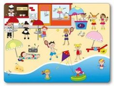 On the beach Stock Illustration ~ Graphic Photo Games, Grande Section, French Immersion, French Class, How To Speak French, Mexico Travel, Games For Kids, Travel Destinations, Kids Rugs