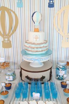 Hot Air Balloon themed birthday party with So Many Cute Ideas via Kara's Party Ideas! Full of decorating tips, cakes, cupcakes, favors, games, and MORE! #hotairballoon #hotairballoonparty #upupandaway #boyparty #partydecor #partyideas #partystyling #eventstyling (5)