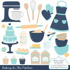 This is a set of 64 professionally made, high quality, baking images. A sweet collection of baking items in my beachy Oceana color theme, perfect for