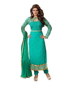 Semi Stiched Georgette AQWA Green Color #AnarkaliSuit  #craftshopsindia