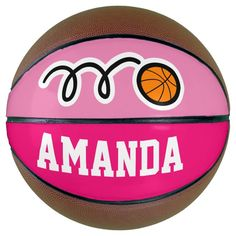 Personalized pink basketball for girl's Birthday - tap to personalize and get yours #birthday, #party, #kids, #sports, #girl,