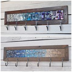Six Hook Custom Coat Rack, Mosaic Coat Rack, Hand-forged Entryway Coat Hooks, Wall Coat Rack, Reclaimed Wood Frame Entryway Coat Hooks, Reclaimed Wood Frames, Rack Design, Design Design, Wall Mounted Coat Rack, Mosaic Art, Tile Art, Wall Hooks, Blacksmithing