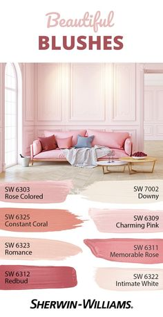 Stay rosy all day with this pink palette that's a wonderful delight for your eyes. Using pink on your walls promotes hope and playfulness in a space, so it's perfect for rooms where all the fun happens because it inspires a positive spirit. Pink Paint Colors, Paint Colors For Home, Wall Colors, House Colors, Light Pink Paint, Light Pink Walls, Light Paint Colors, Pantone, Spiegel Design