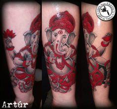 Ganesha - lower arm tattoo by arturtattooart