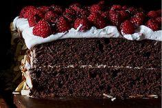 Dark Chocolate Raspberry Sheet Cake Layer Cake recipe on Food52