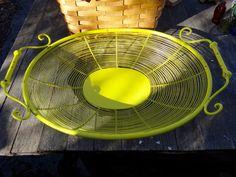 Metal Tray Chartreuse Tray Wire Tray Boho Chic by CasaKarmaDecor
