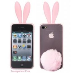 Rabito Bunny Ears Rabbit Furry Tail Light Pink 3D iPhone 4 4S Silicone Case