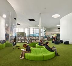 Image 22 of 46 from gallery of Media Library [Third-Place] in Thionville / Dominique Coulon & associés. Photograph by Eugeni PONS Public Library Design, Kids Library, Library Room, Modern Library, Education Architecture, School Architecture, Modern Architecture, Public Library Architecture, Public Libraries