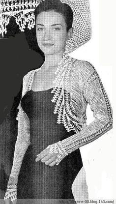 白色钩针长袖披 - 蕾妮 - 蕾雨轩