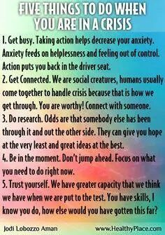 Helpful ideas for when you're dealing with a mental health crisis. If it's anxiety-remember! Mental Health Crisis, Mental Health Awareness, Infp, Therapy Tools, Coping Skills, Self Improvement, Self Help, Planer, Life Lessons