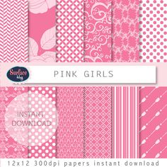 Pink digital paper PINK GIRLS red digital paper, pink arrows, pink polka dots, stripes, spots, floral digital paper, Valentine paper