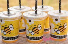 Bumble Bee Birthday Party CupsParty Favor by PartyCupMedley, $10.40