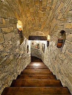 Tunnel-like staircase down to Wine Cellar Home Wine Cellars, Man Cave Room, Wine Cellar Design, Rustic Home Design, Castle House, Luxury Homes Dream Houses, Secret Rooms, Country Estate, Stairways