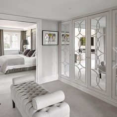 A walk-through Dressing Room with Empire fitted bespoke wardrobes, designed with five mirror wardrobe doors on each side of the walk-through. Walk In Closet Design, Bedroom Closet Design, Design Room, Closet Designs, Home Bedroom, Bedroom Decor, House Design, Interior Design, Master Bedroom