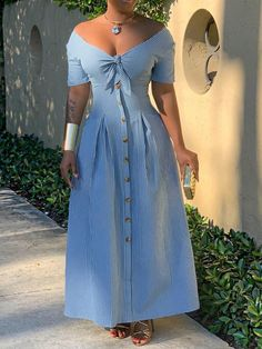 V-Neck Button Ankle-Length Stripe High Waist Dress Dress Outfits, Casual Dresses, Fashion Dresses, Cheap Dresses, Plus Size Maxi Dresses, Plus Size Outfits, Western Dresses, Maxi Dress With Sleeves, Boho Dress