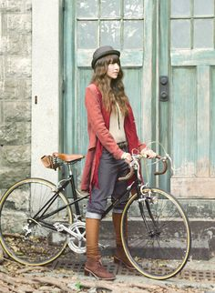 Mori girl with jeans and bike