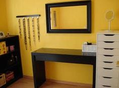 Malm table for makeup and hair  and Alex Drawers for accessories