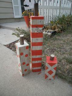 Squirrel Feeder Upcycled to Wood Pumpkins mycreativedays.com #pumpkins #falldecor #fallDIY