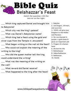 Belshazzar's Feast. Sunday School Activities, Bible Activities, Sunday School Lessons, Bible Games, Bible Study For Kids, Bible Lessons For Kids, Kids Bible, Bible Quiz, Bible Trivia