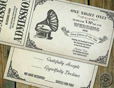 Vintage music wedding invitation Etsy.com