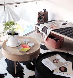 Retail space visual merchandising: Our living room featuring Menu Daybed, Turning Table, Kate & Kate blanket, HAY Kaleido Tray, Kinfolk Magazine, Menu Dancing Pendant & Marble Basics coaster.