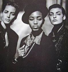 Gender is a social construct. Vogue Paris February Style Gangster Christy Turlington, Naomi Campbell & Linda Evangelista by Peter Lindbergh. Peter Lindbergh, Linda Evangelista, Christy Turlington, Naomi Campbell, Dandy, Divas, Hip Hop, Original Supermodels, Drag King