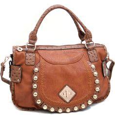 Chic Designer INspired Fashion Shoulder Handbag w/ Studs & Ostrich Trim - Tan   $53.00 + free shipping  wantedwardrobe.com  #handbags #fashion #western