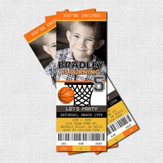 Personalized Birthday Party BASKETBALL TICKET Invitation